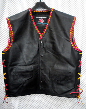 Mens Leather Vest Motorcycle Club Style MLVB733 Any Color Braid Available