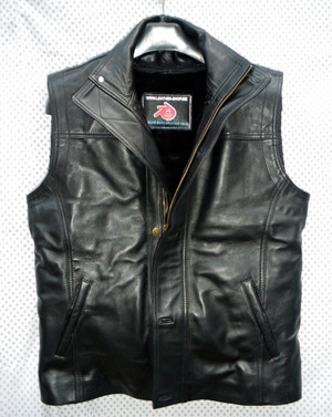 Mens Leather Vest With Detachable Liner Style MLVL12 Custom Made