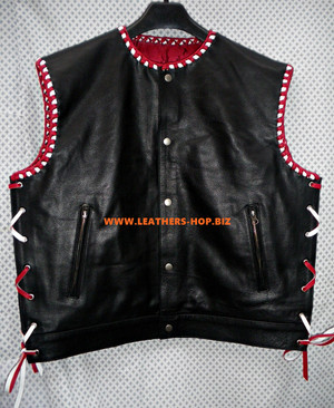 Mens Leather Vest geflochtene Stil MLVB750 Two Color Geflecht