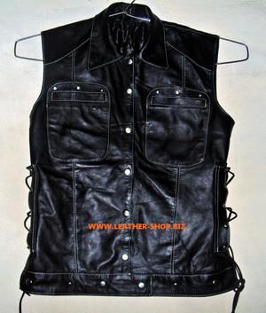 Dámská kožená košile bez rukávů Custom Made Style LS270L
