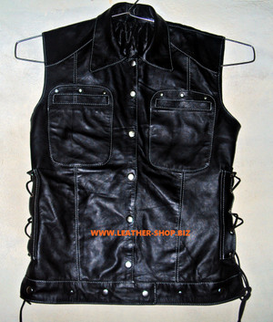 Dame læder ærmeløs skjorte Custom Made Style LS270L
