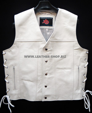 Mens Leather Vest Style MLV1340 no seams on back