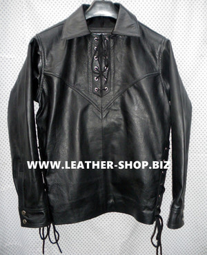 Lambskin Leather Pullover Shirt with Fringe Custom Made Style LS098