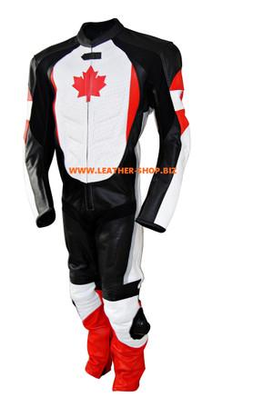 Combinaison de course en cuir sur mesure Maple Leaf - style MS067CF