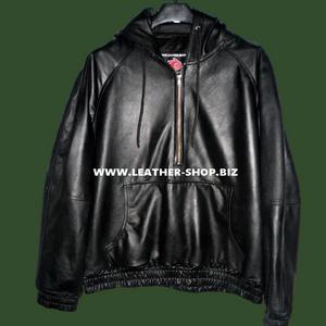 Sudadera con capucha de cuero con forro de piel estilo personalizado LLH050