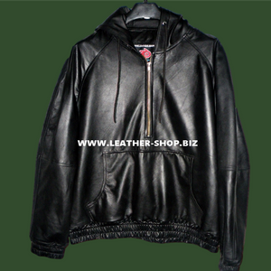 Leather Hoodie with Lambskin Lining Custom Made Style LLH050