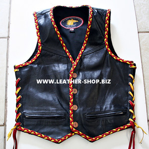 Horsehide Leather Vest 2 Color Braid Style MLVB250
