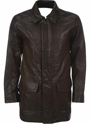 Pánský kožený dlouhý kabát na zakázku MLC530