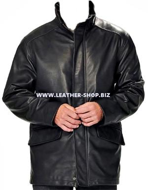 معطف جلد طويل للرجال مصنوع حسب الطلب MLC531