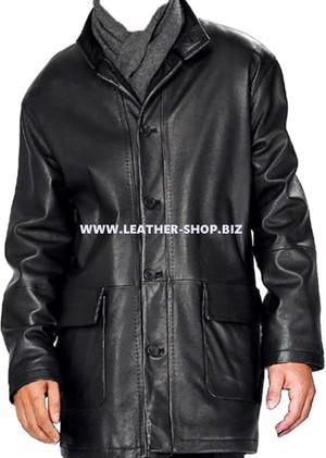 Men's leather Long Coat custom made style MLC537