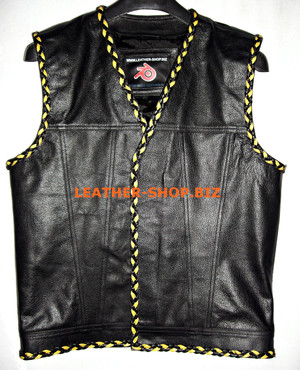 Mens leder vest met 2 kleurplaat stijl MLVB1299 versteven front zip en geen naden on back WWW.LEATHER-SHOP.BIZ front pic