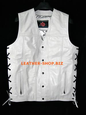 Pánská kožená vesta ve stylu MLV1341 bez švů na zadní a skrytý přední zip na přední straně