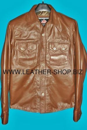 Chemise en cuir fait sur mesure style LS040 chemise avant pic