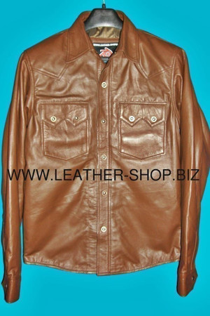 Leather shirt custom made style LS040 shirt front pic