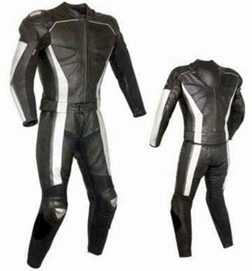 Leather racing suit custom made - style MS319 WWW.LEATHER-SHOP.BIZ front + back pic