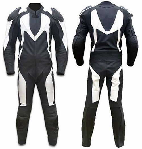 Leather racing suit custom made - style MS313 WWW.LEATHER-SHOP.BIZ front + back pic