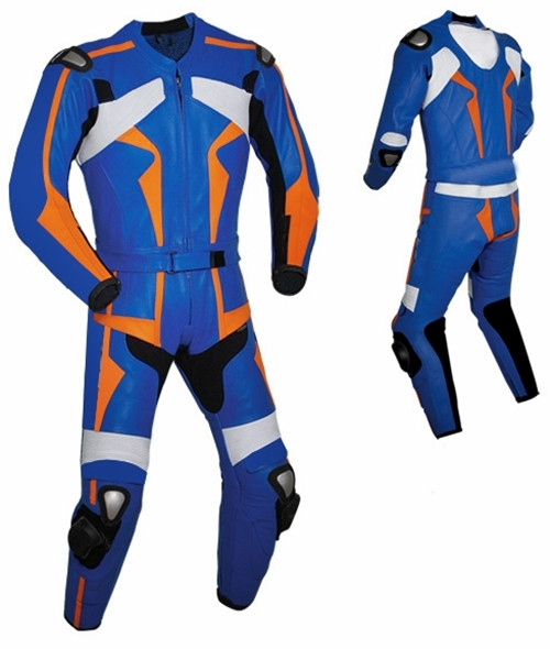 Leather racing suit custom made - style MS26888 WWW.LEATHER-SHOP.BIZ blue front pic