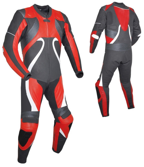 Leather racing suit custom made - style MS2666 WWW.LEATHER-SHOP.BIZ red front and back pic