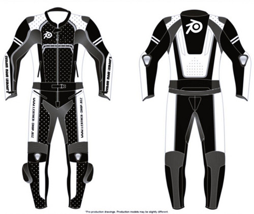 Leather motorcycle suit LS0011 LEATHER-SHOP.BIZ front and back pic