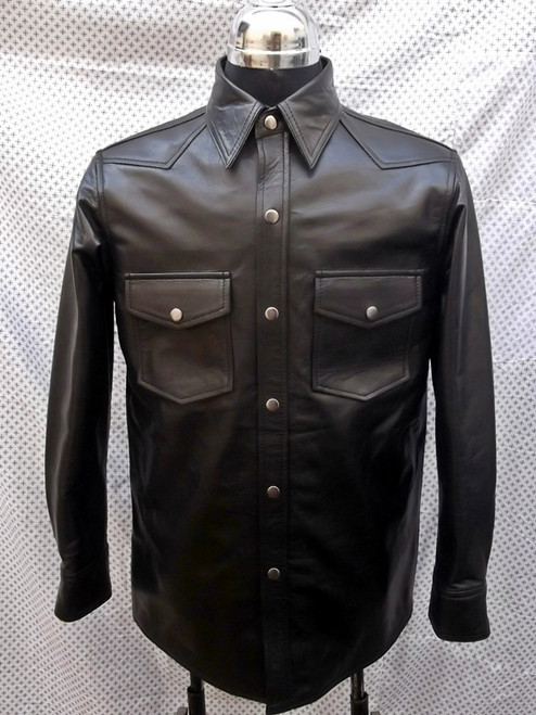 Leather Shirt Style LS015 WWW.LEATHER-SHOP.BIZ front pic