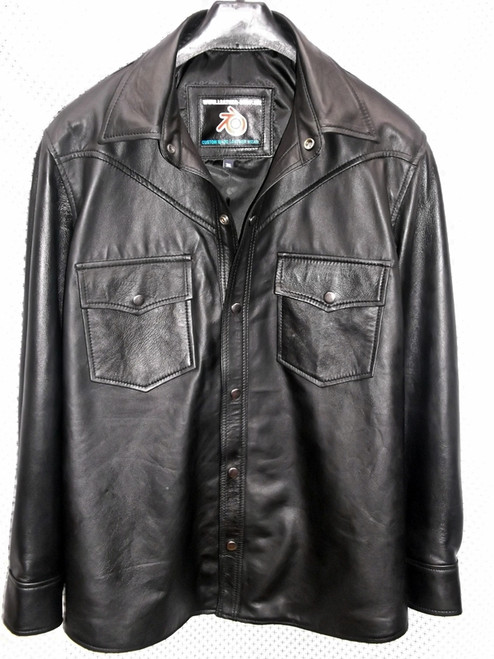 black lambskin leather shirt custom made www.leather-shop.biz LS018 front of shirt picture