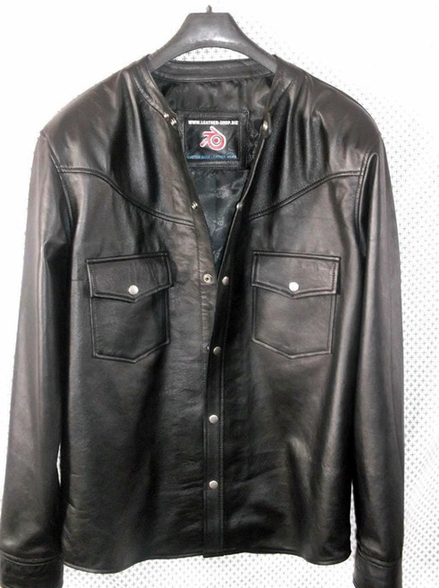 leather shirt custom made www.leather-shop.biz LS018NC no collar black lambskin front of shirt picture
