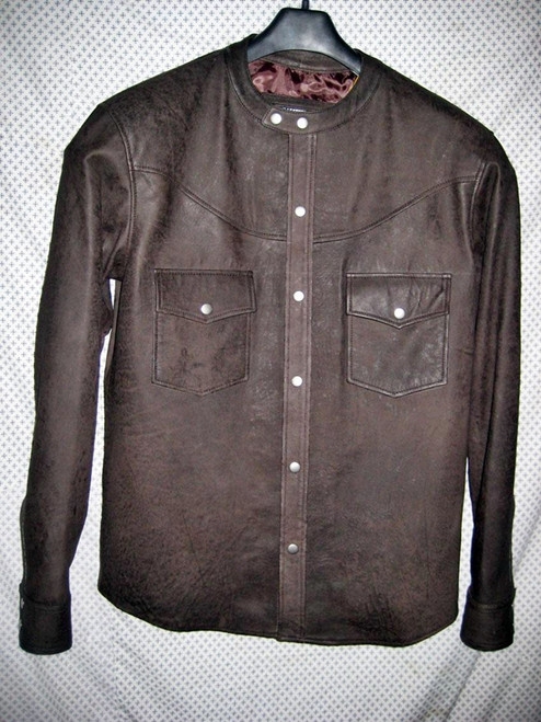 Leather shirt no collar style LS018 distressed dark brown WWW.LEATHER-SHOP.BIZ front of shirt picture
