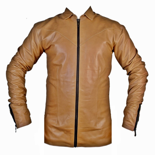 leather shirt LS050Z brown with zippered front and cuffs front of shirt picture