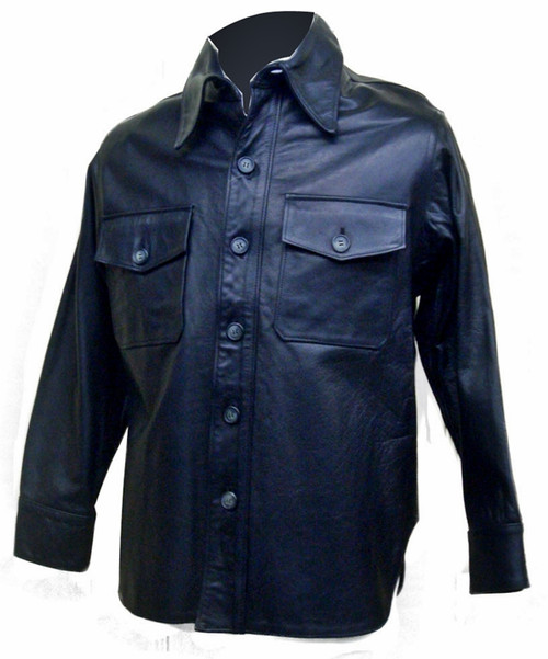 Leather shirt style LS089 www.leather-shop.biz front image