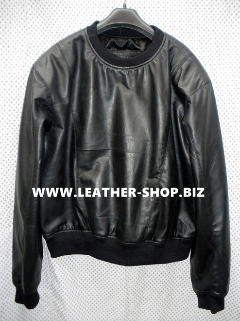 Lambskin Leather Sweat Shirt Custom Made Style LSS005