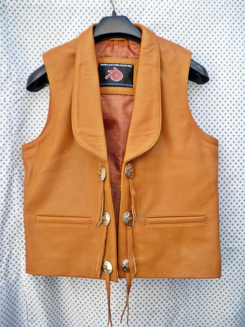 Mens Leather Vest Bonanza Style MLV75