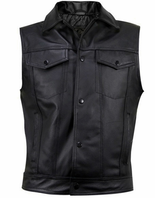 Leather Vest Jeans Style MLV1331 www.leather-shop.biz front pic