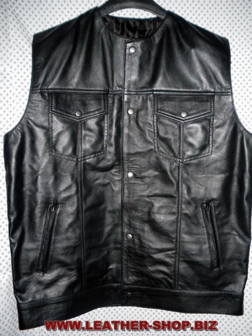 Leather vest style MLV1333 WWW.LEATHER-SHOP.BIZ front pic