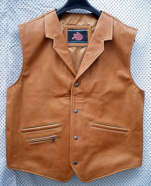 LEATHER VEST WESTERN STYLE MLV85 light brown shown WWW.LEATHER-SHOP.BIZ front pic