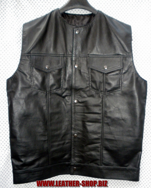 Leather Sleeveless Shirt LS260 no collar style WWW.LEATHER-SHOP.BIZ front pic