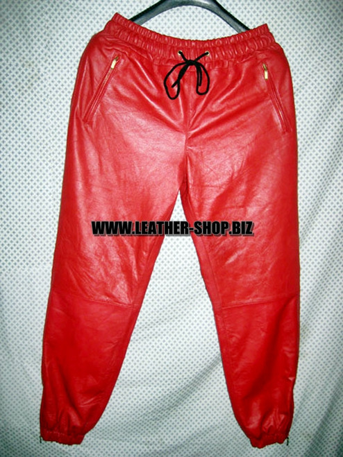 Leather sweat pants kanye west style  LSP101 www.leather-shop.biz front pic