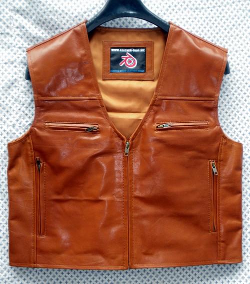 Mens leather vest style MLV099 www.leather-shop.biz front pic