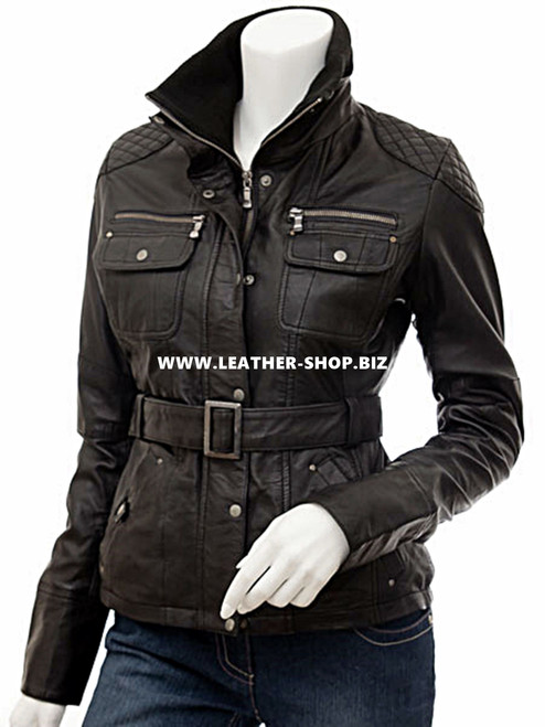 Leather jacket for Ladies custom LLJ604 jacket front picture