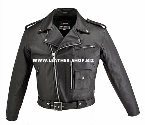 Horsehide Leather Motorcycle Jacket D Pocket Style 5550 Black