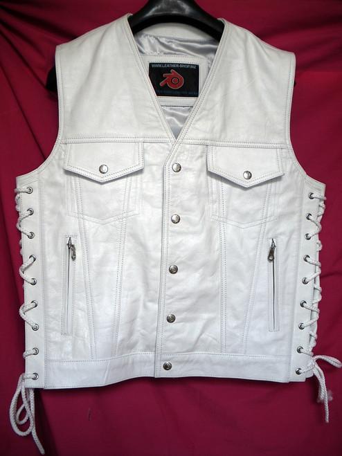 Mens Leather Vest Style MLV1335 no seams on back