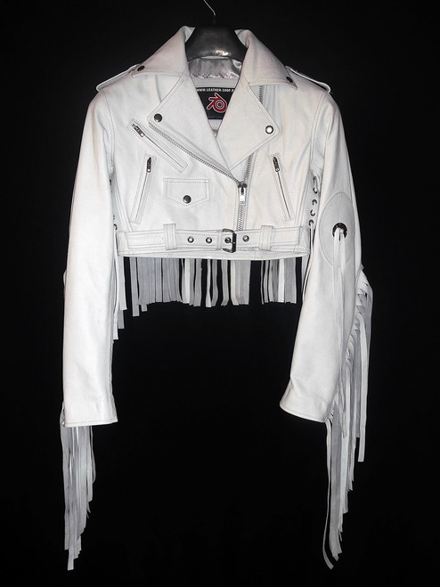Ladies Leather Fringe Jacket Custom Made Style LLFJ1707S Available In 9 Colors