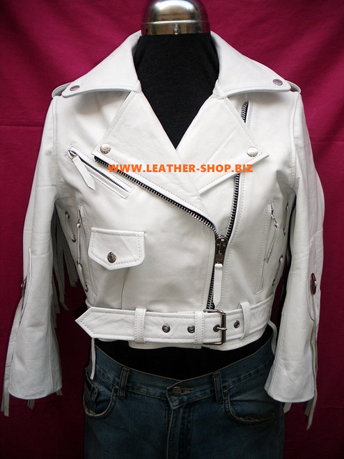 Ladies Leather Fringe Jacket Custom Made Style LLFJ1708 Available In 8 Colors