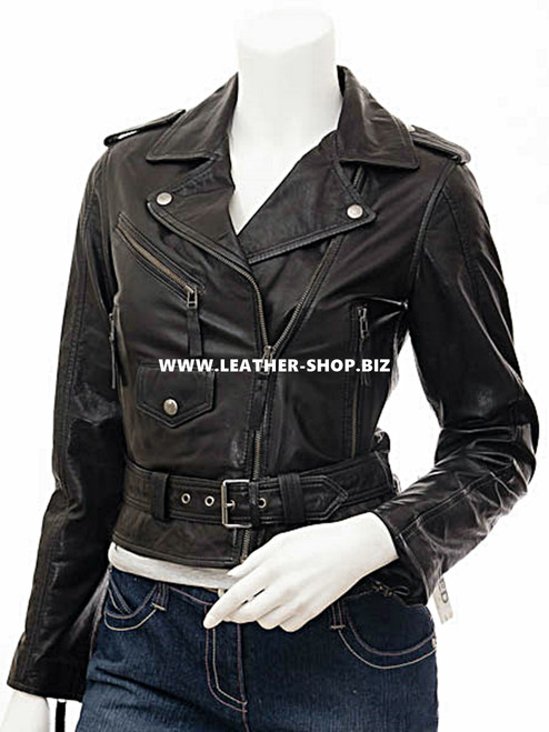 Ladies Leather Jacket Custom Made Motorcycle Style LLJ615 Made In 8 Colors