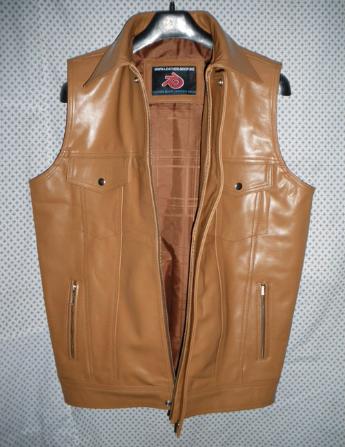 Mens Leather Vest Custom Made Style MLVL15 available in 8 colors
