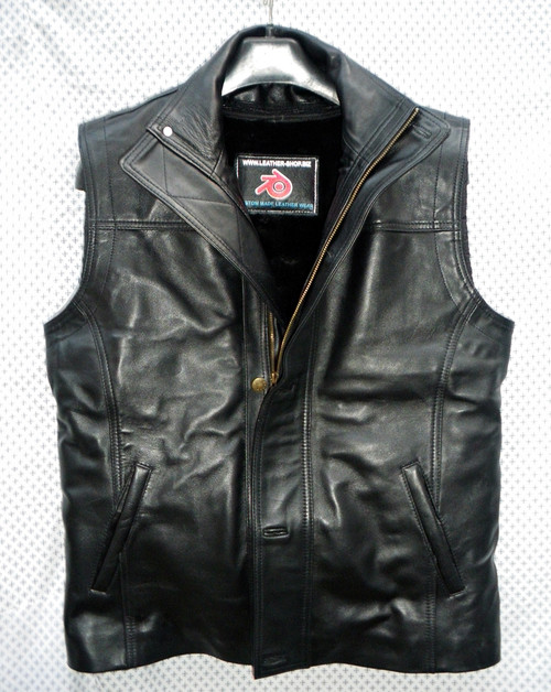 Mens Leather Vest Custom Made Style MLVL12 With Winter Liner