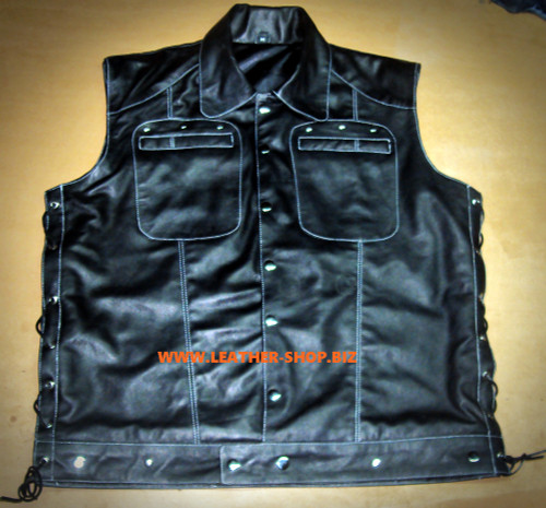 Lambskin Leather Sleeveless Shirt Custom Made Style LS270