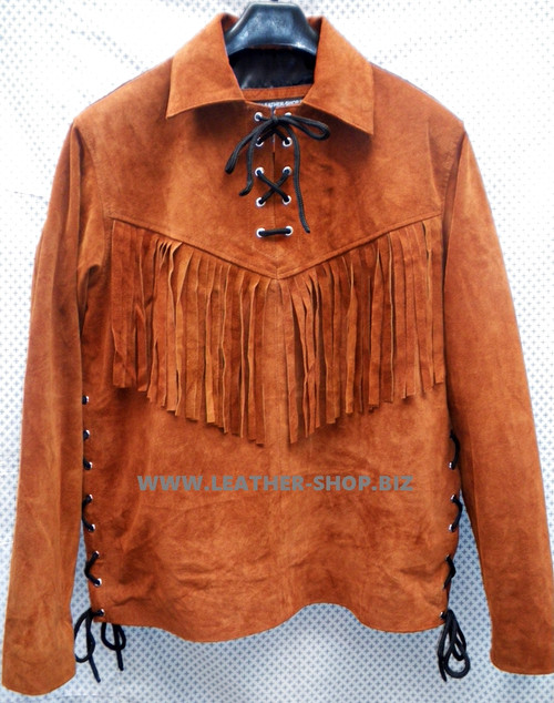 Suede Leather Pullover Shirt with Fringe Custom Made Style LS080