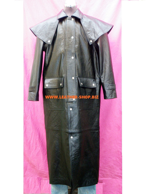 Leather Duster / Trench Coat Style MTC550 Custom Made Available In 8 Colors
