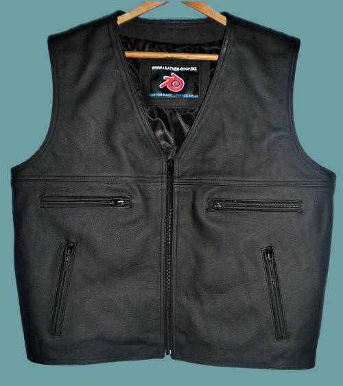 Mens leather vest custom made style MLV097 no seams on back www.leather-shop.biz front picture