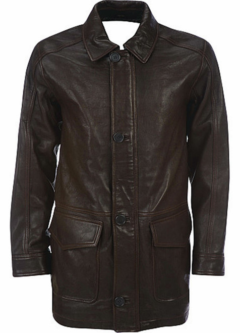 Men's leather Long Coat custom made style MLC530